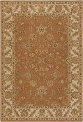 Hand-knotted Mandara Orange New Zealand Wool Rug (7'9 x 10'6) - Thumbnail 1