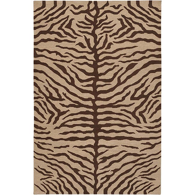Hand-knotted Mandara Animal Print Wool Rug - 7'9 x 10'6