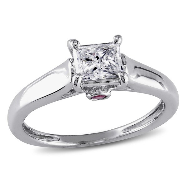 Miadora Signature Collection L'Amour Enrose by 14k Gold 1/2ct TDW Diamond and Sapphire Solitaire Engagement Ring (H-I, I2