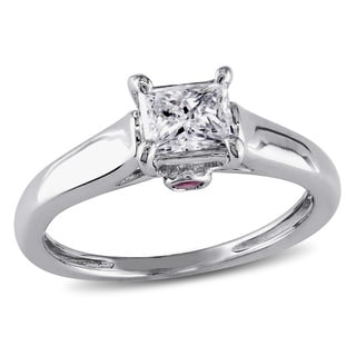 Miadora Signature Collection L'Amour Enrose by 14k Gold 1/2ct TDW Diamond and Sapphire Solitaire Eng