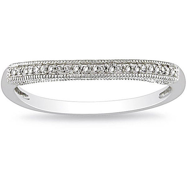 Miadora 14k White Gold Diamond Curved Wedding Band (H-I, I2-I3)