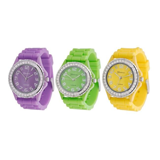 Geneva Women's Platinum Cubic Zirconia Silicone Strap Accent Watch