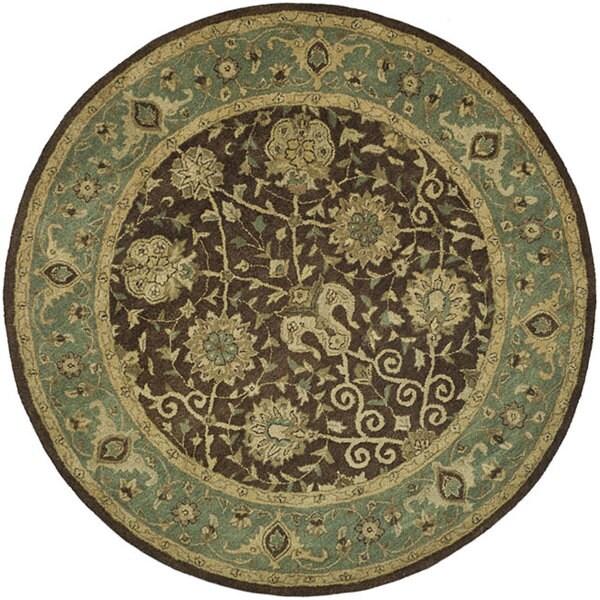 """Safavieh Handmade Mashad Brown/ Green Wool Rug - 3'6"""" x 3'6"""" round"""