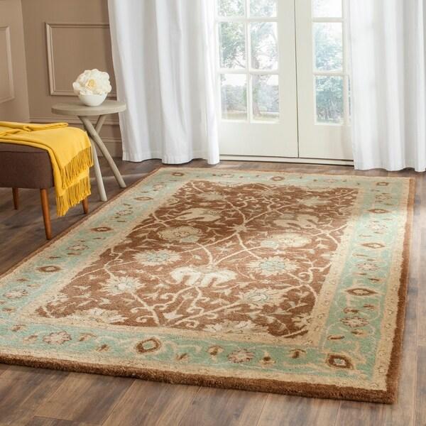 Safavieh Handmade Mashad Brown/ Green Wool Rug - 7'6 x 9'6