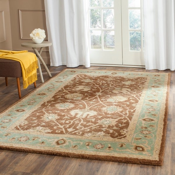 Safavieh Handmade Mashad Brown/ Green Wool Rug (7'6 x 9'6)