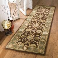 Safavieh Handmade Kerman Chocolate/ Gold Wool Runner (2'3 x 10')