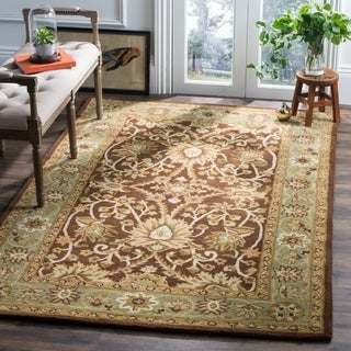 Safavieh Handmade Kerman Chocolate/ Gold Wool Rug (7'6 x 9'6)