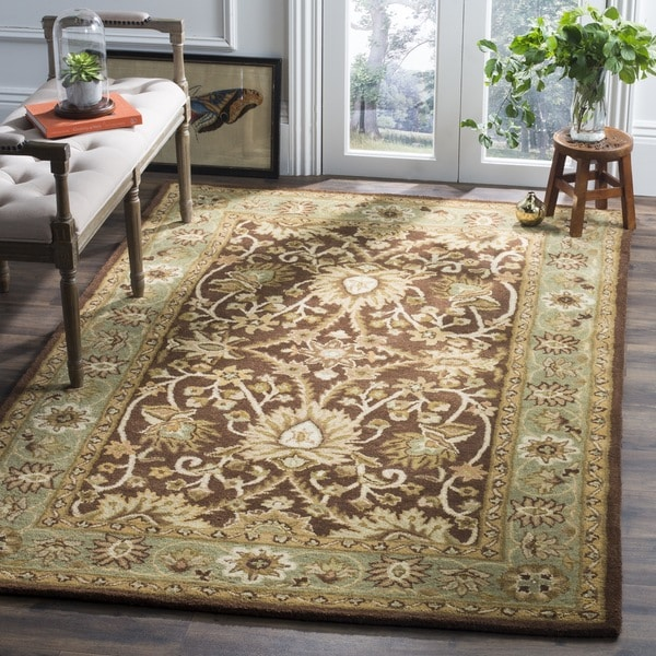 Safavieh Handmade Kerman Chocolate/ Gold Wool Rug - 7'6 x 9'6