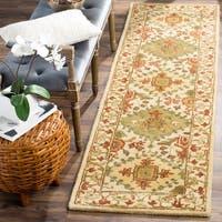 "Safavieh Handmade Tabriz Beige/ Olive Wool Rug - 2'3"" x 8'"