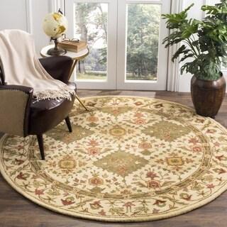 Safavieh Handmade Tabriz Beige/ Olive Wool Rug (3'6 Round)