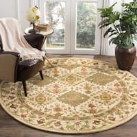 """Safavieh Handmade Tabriz Beige/ Olive Wool Rug - 3'6"""" x 3'6"""" round"""
