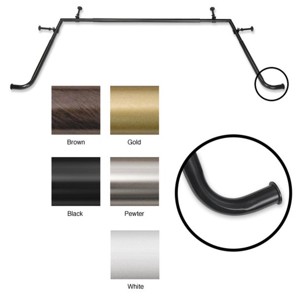Pinnacle 5/8-inch Adjustable Bay Window Rod Set