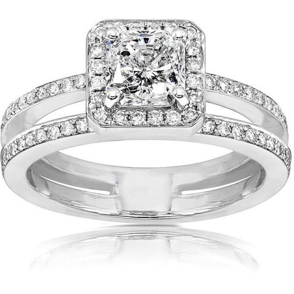Annello by Kobelli 14k Gold 1 1/3ct TDW Radiant Cut Diamond Engagement Ring (H-I, I1-I2)