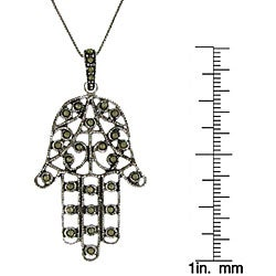 Sterling Silver Marcasite 'Hamsa' Necklace - Thumbnail 2