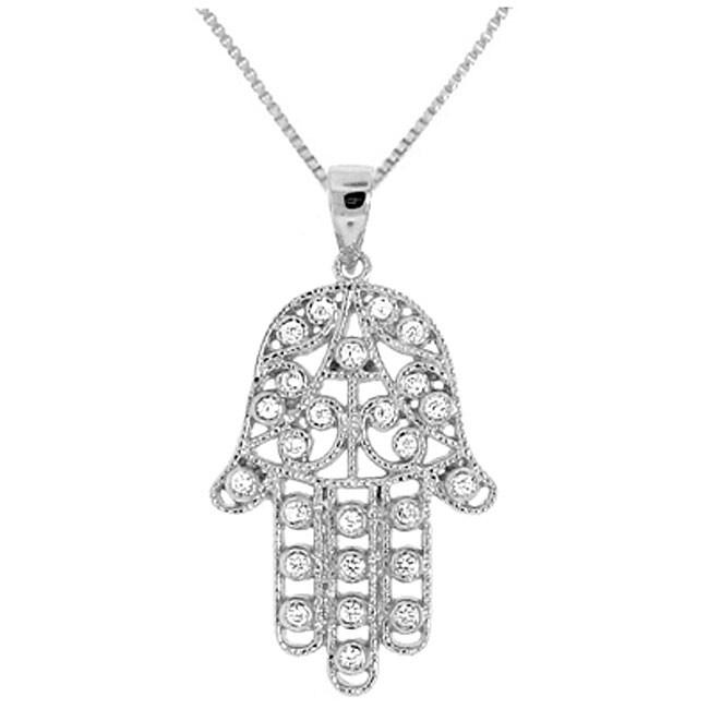 Sterling Silver Cubic Zirconia 'Hamsa' Necklace