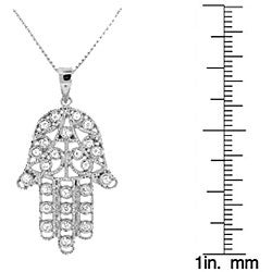 Sterling Silver Cubic Zirconia 'Hamsa' Necklace - Thumbnail 2