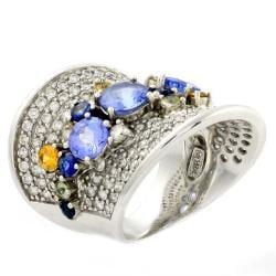 Beverly Hills Charm 14k White Gold Sapphire, Tanzanite and 1 1/2ct TDW Diamond Ring - Thumbnail 1