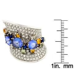 Beverly Hills Charm 14k White Gold Sapphire, Tanzanite and 1 1/2ct TDW Diamond Ring - Thumbnail 2