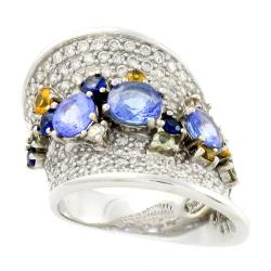 Beverly Hills Charm 14k White Gold Sapphire, Tanzanite and 1 1/2ct TDW Diamond Ring