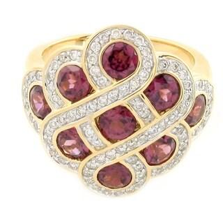 High Polish 14k Yellow Gold Rhodolite and 1/2ct TDW Diamond Ring