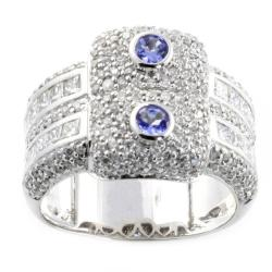 Beverly Hills Charm 14k White Gold Tanzanite and 1.50ct TDW Diamond Ring