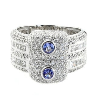 14k White Gold Tanzanite and 1.50ct TDW Diamond Ring