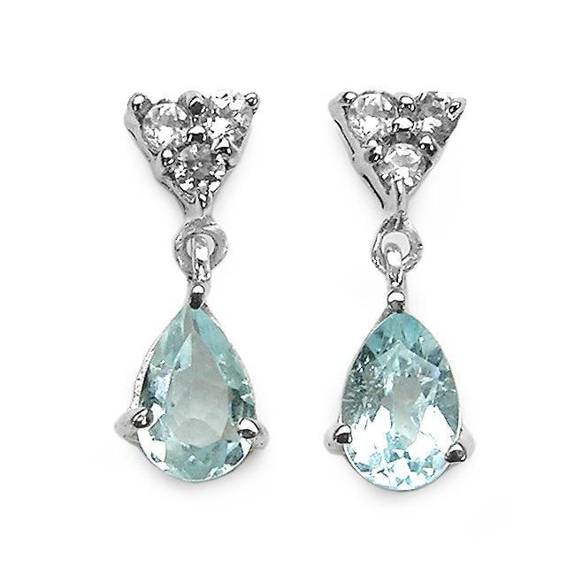 Malaika Sterling Silver Aquamarine and White Topaz Dangle Earrings