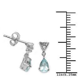 Malaika Sterling Silver Aquamarine and White Topaz Dangle Earrings - Thumbnail 2