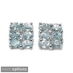 Malaika Sterling Silver Oval-cut Gemstone Cluster Earrings