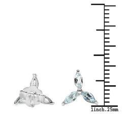 Malaika Sterling Silver Marquise-cut Blue Topaz Stud Earrings - Thumbnail 2