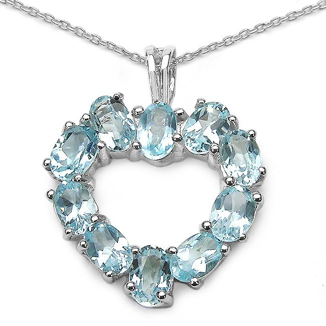 Malaika Sterling Silver Blue Topaz Silver Heart Necklace - Thumbnail 0