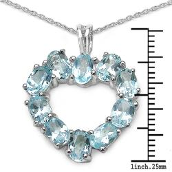 Malaika Sterling Silver Blue Topaz Silver Heart Necklace - Thumbnail 2