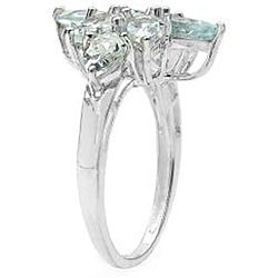 Malaika Sterling Silver Aquamarine Flower Ring - Thumbnail 1