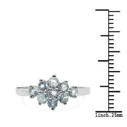 Malaika Sterling Silver Round-cut Blue Topaz Cluster Ring - Thumbnail 2
