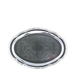 American Metalcraft Oval Chrome Serving Tray - Thumbnail 1