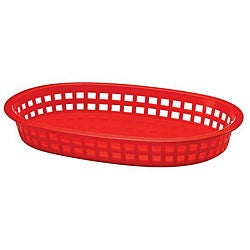 Tablecraft 10.5x7-in Red Oval Plastic Basket (Case of 36)