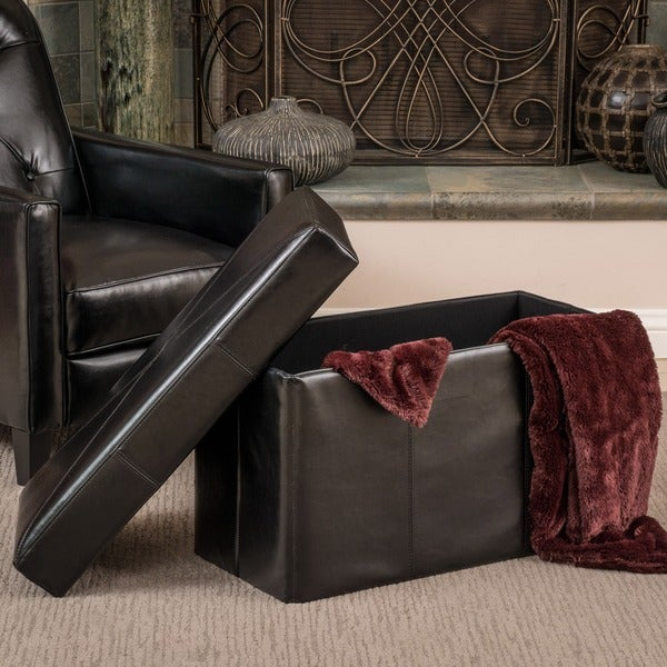 Nottingham Black Bonded Leather Storage Ottoman Bench by Christopher Knight Home