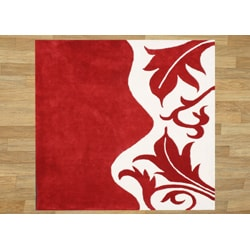 Hand-tufted Royal Quill Red/ White Wool Rug (6' Square)