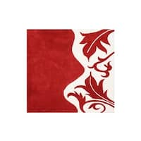 Hand-tufted Royal Quill Red/ White Wool Rug - 6'