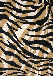 Alliyah Handmade Brown Circles New Zealand Blend Wool Rug (8' x 10')