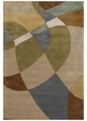 Hand-Tufted Geometric Multi Wool Abstract Rug (5' x 8') - Thumbnail 2