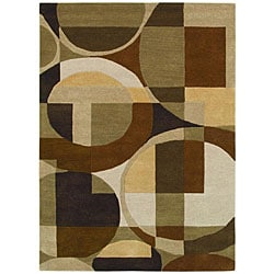 Contemporary Hand-Tufted Geometric Multi Wool Rug - 5' x 8' - Thumbnail 0