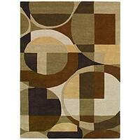Contemporary Hand-Tufted Geometric Multi Wool Rug - 5' x 8'