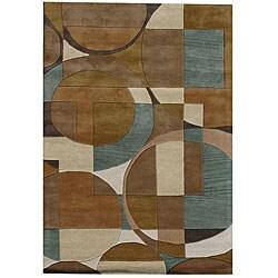 Hand-Tufted Geometric Multi Rectangular Wool Rug (5' x 8')