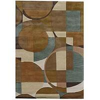 Hand-Tufted Geometric Multi Rectangular Wool Rug - 5' x 8'