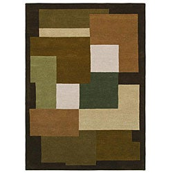 Hand-Tufted Geometric Multi Wool Rug with Shades of Olive and Beige (5' x 8')