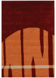 Hand-Tufted Geometric Multi Wool Rug with Shades of Burgundy and Orange (5' x 8')