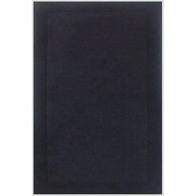 Hand-tufted Black Border Wool Rug (5' x 8')