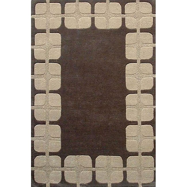 Hand-tufted Box Flooring Wool Rug - 5' x 8'
