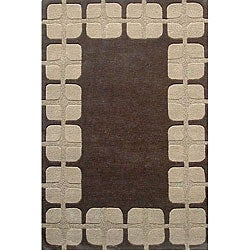 Hand-tufted Box Flooring Wool Rug - 5' x 8' - Thumbnail 0